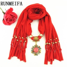 [RUNMEIFA] 2017 New Arrival Charms Scarf Flower Pendant Scarf Jewelry jersey Scarves Necklace Scarf Free Shipping