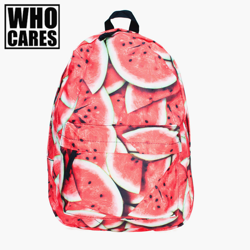 2016 backpack women Fashion Preppy Style Watermelon pattern school bag travel bags printing backpack Softback mochila