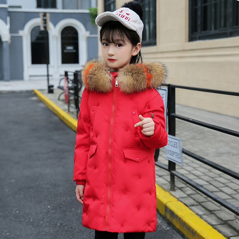 цена на -30 degrees Girls clothing warm Down jacket for girl clothes 2018 Winter Thicken Parka real Fur Hooded Children Outerwear Coats
