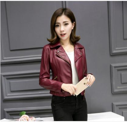 Xs/4Xl Women Large Size Spring And Autumn Pu   Leather   Jacket Short Section Female Skinny Black/Pink /Wine Red   Leather   Coats J2573