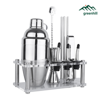 Greenhill Premium Bar Tool Set / 12 Pieces Barware Cocktail Shaker Kit (18/8), Jigger, Spoon, Pour, Straw, Ice tong & Stand