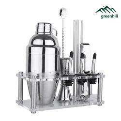 Greenhill Premium Ensemble D'outils De Barre/12 pièces Barware Shaker Kit (18/8), Jigger, Cuillère, verser, Paille, pince à Glace et Support