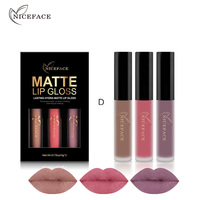 3 Pieces Set NICE FACE Brand Makeup Matte Lipstick Kit Long Lasting Lip Gloss Set Waterproof