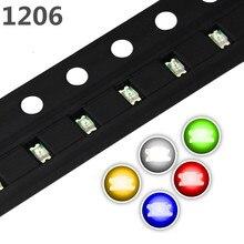 100 pçs/lote 5 Cores SMD 3216 1206 Led Ultra Brilhante Vermelho/Verde/Azul/Amarelo/Branco Water Clear Led Diodo