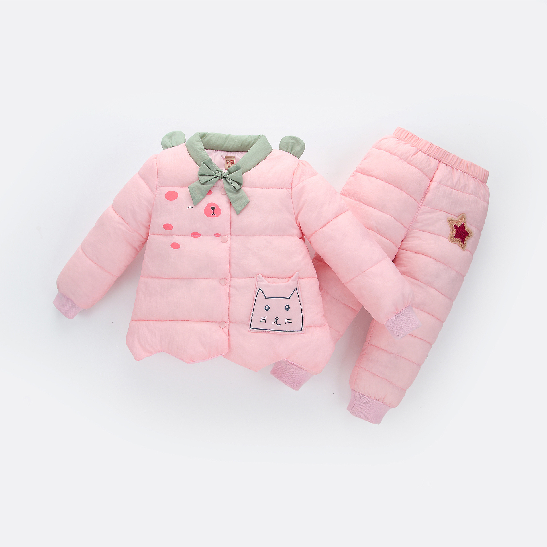 2017 Autumn and winter new sweet cute style children padded suit trousers Keep warm coat  baby girls down cotton two piece/sets brown sugar kitchen new style down home recipes from sweet west oakland