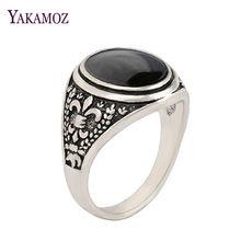 587fbb3086d0 De moda Gran Sello Vintage anillos para las mujeres Oval negro anillos de piedra  hombres Cool Punk Rock antiguo anillo de plata .