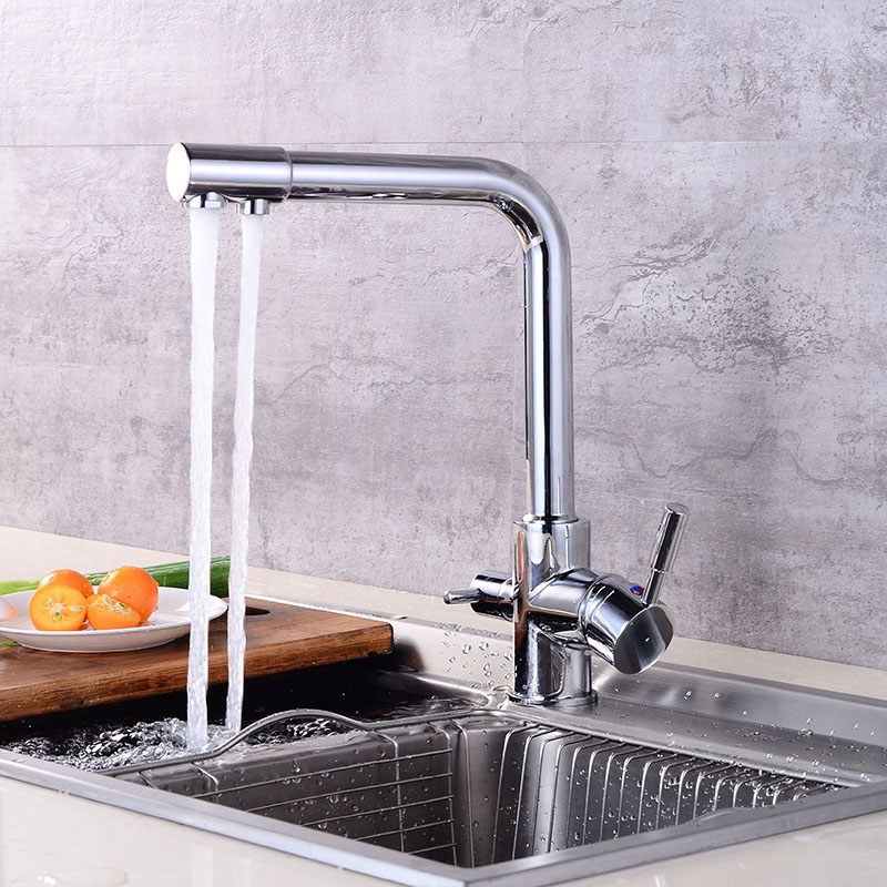 Kitchen Faucet Water With Dot Brass Purifier Faucet Dual Sprayer