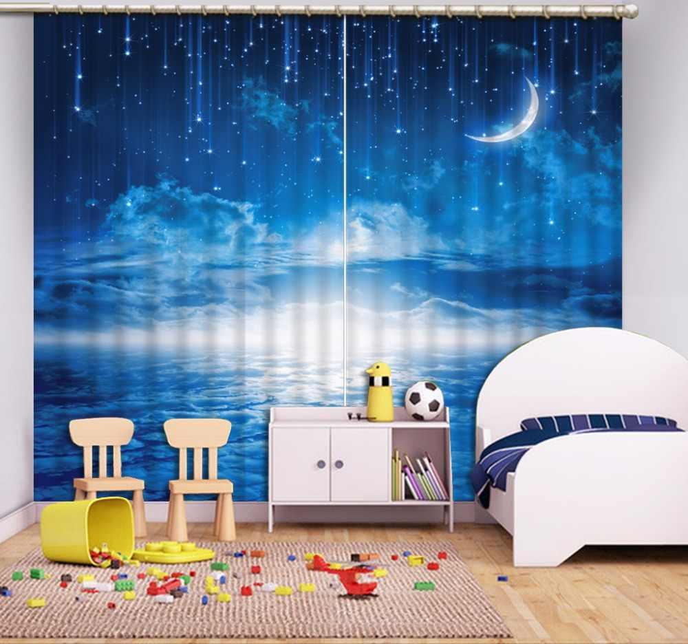 New Custom 3D Beautiful 3D Curtain Blue Sky Moon Window Curtain Living Room 3D Bathroom Curtain 3D Curtain Blackout
