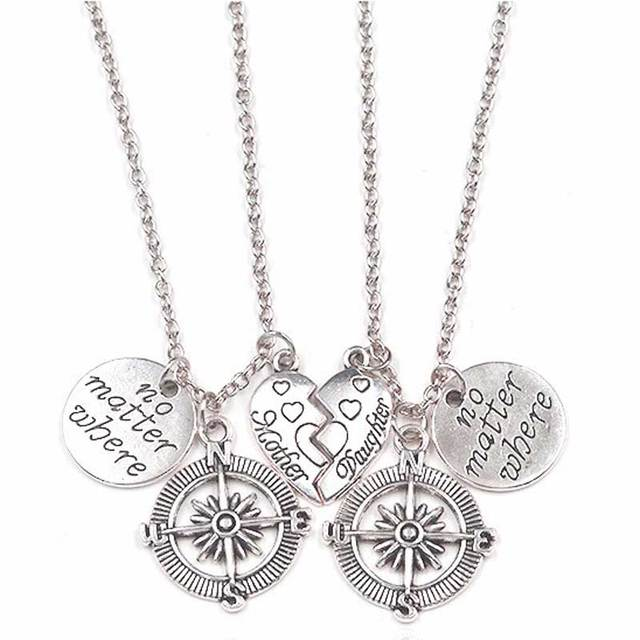 Friendship Pendant Necklace Two pcs half broken heart no matter where compass necklaces set two pcs half broken heart no matter where compass necklaces set mother daughter audiocablefo
