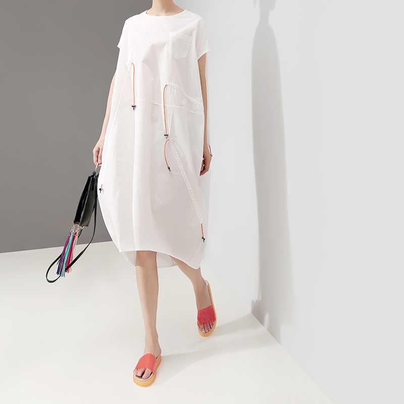 Женский сарафан средней длины, белое свободное платье большого размера без рукавов на бретельках, модель 5179 в корейском стиле на лето, 2019