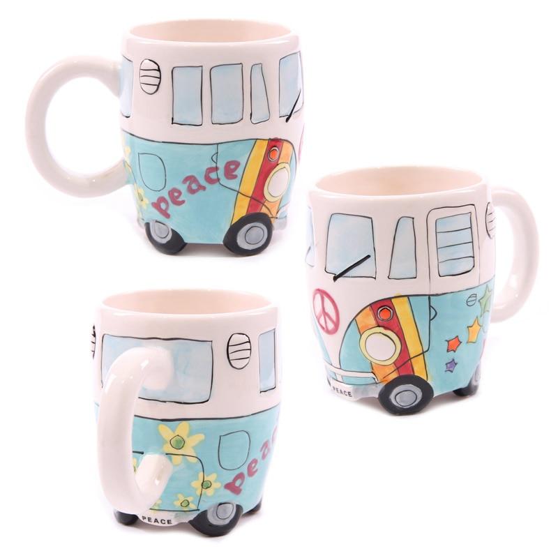 Free Shipping 1Piece Camper Van Ceramic Coffee Cup Retro Bus Mug Splittie Funky Gift Boxed Cartoon Mini Cart Coffee Mugs Cups
