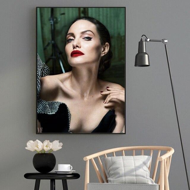 أنجلينا جولي الحرير النسيج المشارك و طباعة جدار الفن صورة اللوحة ديكور المنزل