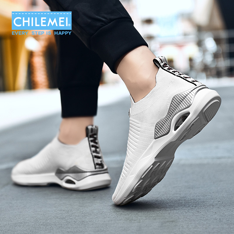 Summer New Fashion And Leisure Men Shoes Flying Woven Slip On Jogging Shoes Cushion Socks Shoes Men Causal Loafer Shoes