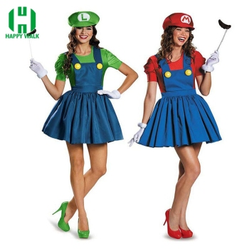 Halloween Super Mario Luigi Bros Costume Women Sexy Dress Plumber Costume Adult Mario Bros Cosplay Costume Fancy Dress cosplay adults and kids super mario bros cosplay dance costume set children halloween party mario