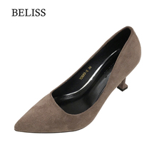 BELISS 2019 Flock Woman Office Ladies Pumps Fashion High Heels Shoes Pointed Toe Dress Basic Women Slip-On S63