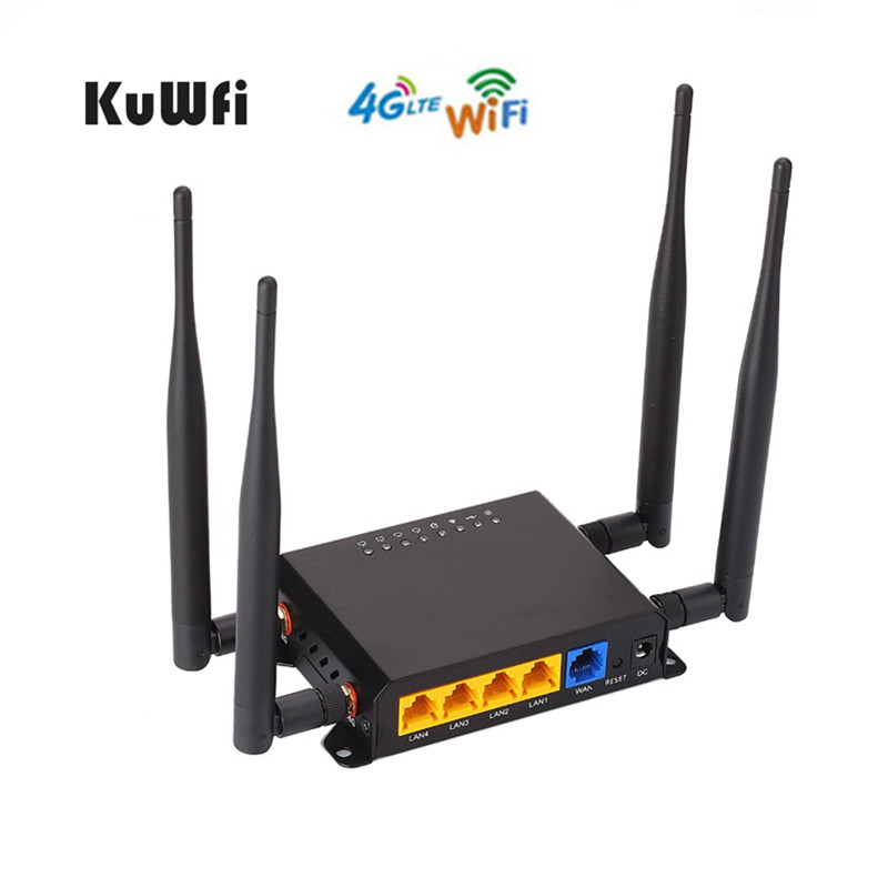KuWfi 4G Wireless Router High Power 300Mbps Wireless WiFi Router Wifi Repeater Strong Signal OpenWrt Router With Sim Card Slot kuwfi 3g 4g sim card slot wifi router openwrt 300mbps high power wireless router repeater with 4 5dbi antenna
