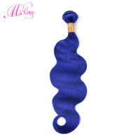 Ms Love Pre Colored Blue Human Hair Bundles Body Wave Hair Extensions 1 Pcs Remy Brazilian Hair Weave Bundle 100 Gram 8 28 Inch