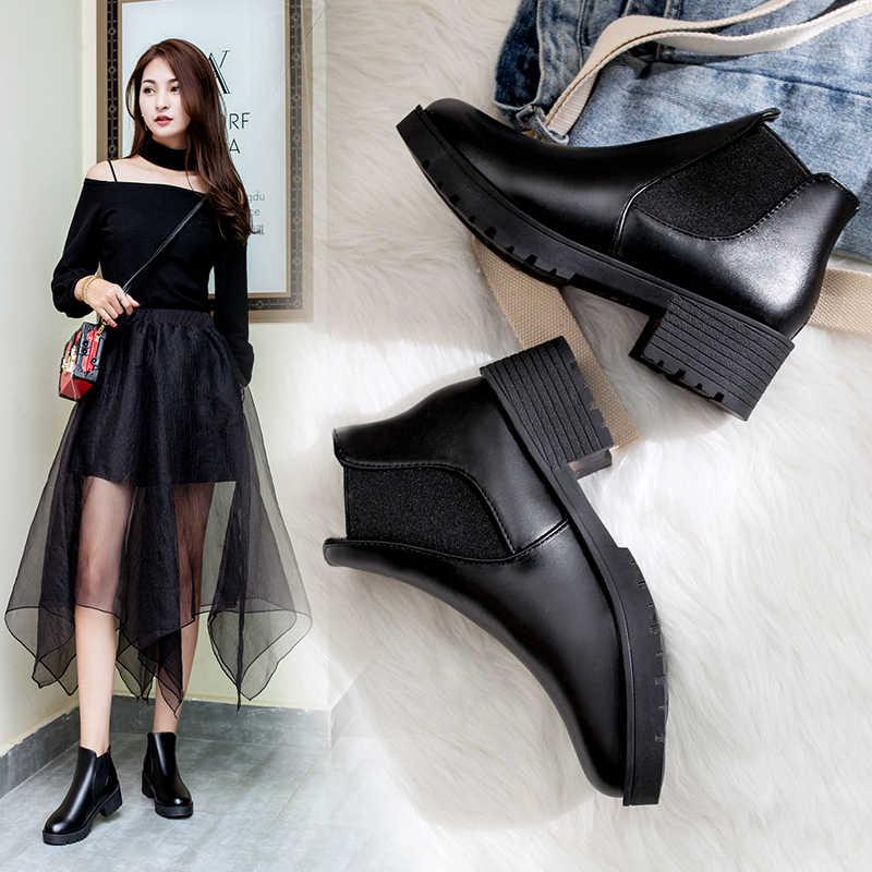 Weweya дешевые из искусственной кожи рун ботинки осень-зима Женская обувь без застежек Для женщин сапоги дамы Эластичная лента полусапожки Botas Mujer 4,5 см