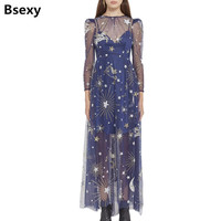 2 Pieces Dress 2018 Women Perspective Stars Sequins Mesh Dress Sexy Backless Long Sleeve Galaxy Pattern