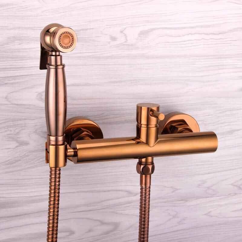 Fashion high quality total brass Rose gold bathroom bidet faucet set,toilet gun set, luxury modern bathroom shower faucet set 2017 wholesale new premium high quality gold bidet mixer faucet taps