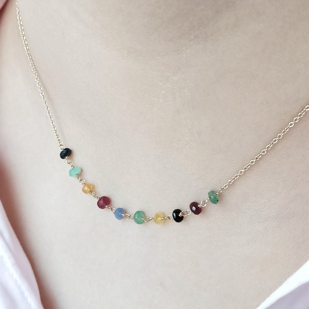 Image 2 - Lii Ji Emerald Ruby Sapphire Natural Gemstone Handmade Elegant  Chain Necklace S925 Clasp 40cm/45cm Delicate Jewelry for GiftNecklaces