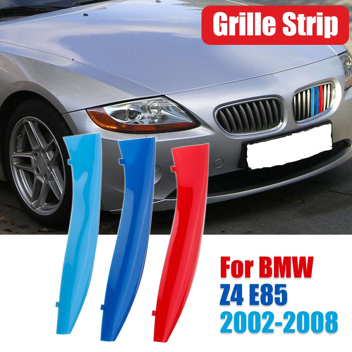 Car Front Grille Trim Sport Strips Cover Stickers For BMW Z4 E85 2002-2008 Front Kidney Grill Grille Cover Clip Trim
