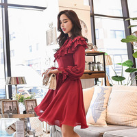 Dabuwawa High Waist Vintage Ruffle Flare Sleeve Lady Autumn Chiffon Dress 2018 Elegant Retro Party Swing Hem Dresses New