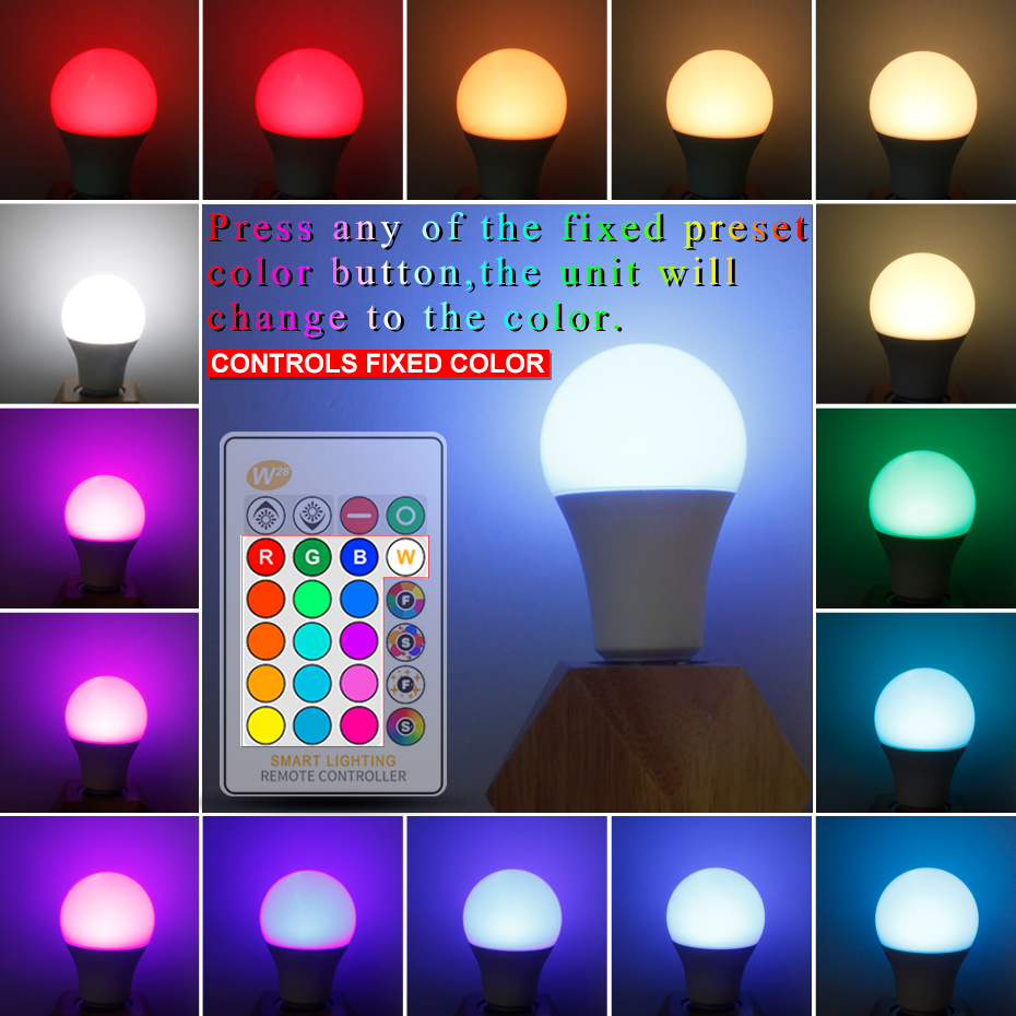 Image 3 - High Power RGB LED Lamp E27 E14 3W 5W RGB 10W 15W RGBW RGBW  Light AC85 265V Lampara 16 Colors Remote Controller bombillas led-in LED Bulbs & Tubes from Lights & Lighting