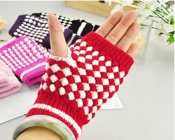 Fingerless Gloves Mixed Color Knitting Warm Pineapple Pattern Winter