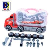 Assembléia Big Rig Crianças Brinquedo Do Caminhão Do Recipiente Removível Caixa de Ferramentas De Manutenção De Pneus Crianças Kit Styling Veículo Modelo Em Escala Do Carro D50