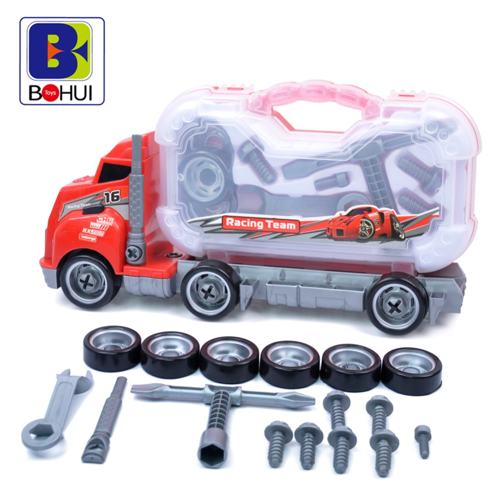 Assembly Big Rig Children Container Truck Toy Removable Tires font b Maintenance b font Tool Box