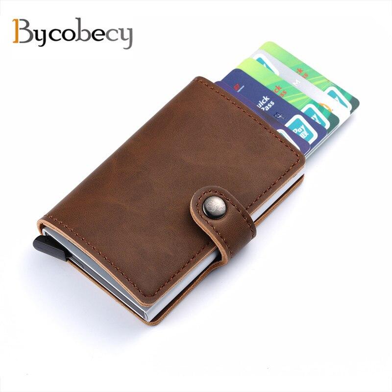 Bycobecy 2018 Unisex Titolare della Carta RFID In Metallo Alluminio Della Carta di Credito supporto Con RFID Blocco della carta di Cuoio Dell'unità di elaborazione Mini Magic Wallet 4 colore