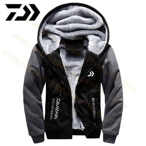 2020 daiwa roupas de pesca hoodies moletom ao ar livre com bone solto velo quente