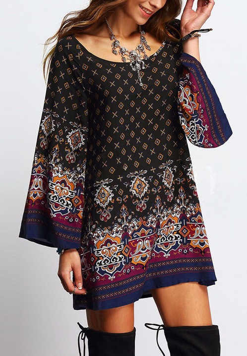 Plus Size Dress 4xl 5xl Women Floral Tunic Boho Dresses Summer Large Size Flower  Print Loose 0794835f470c