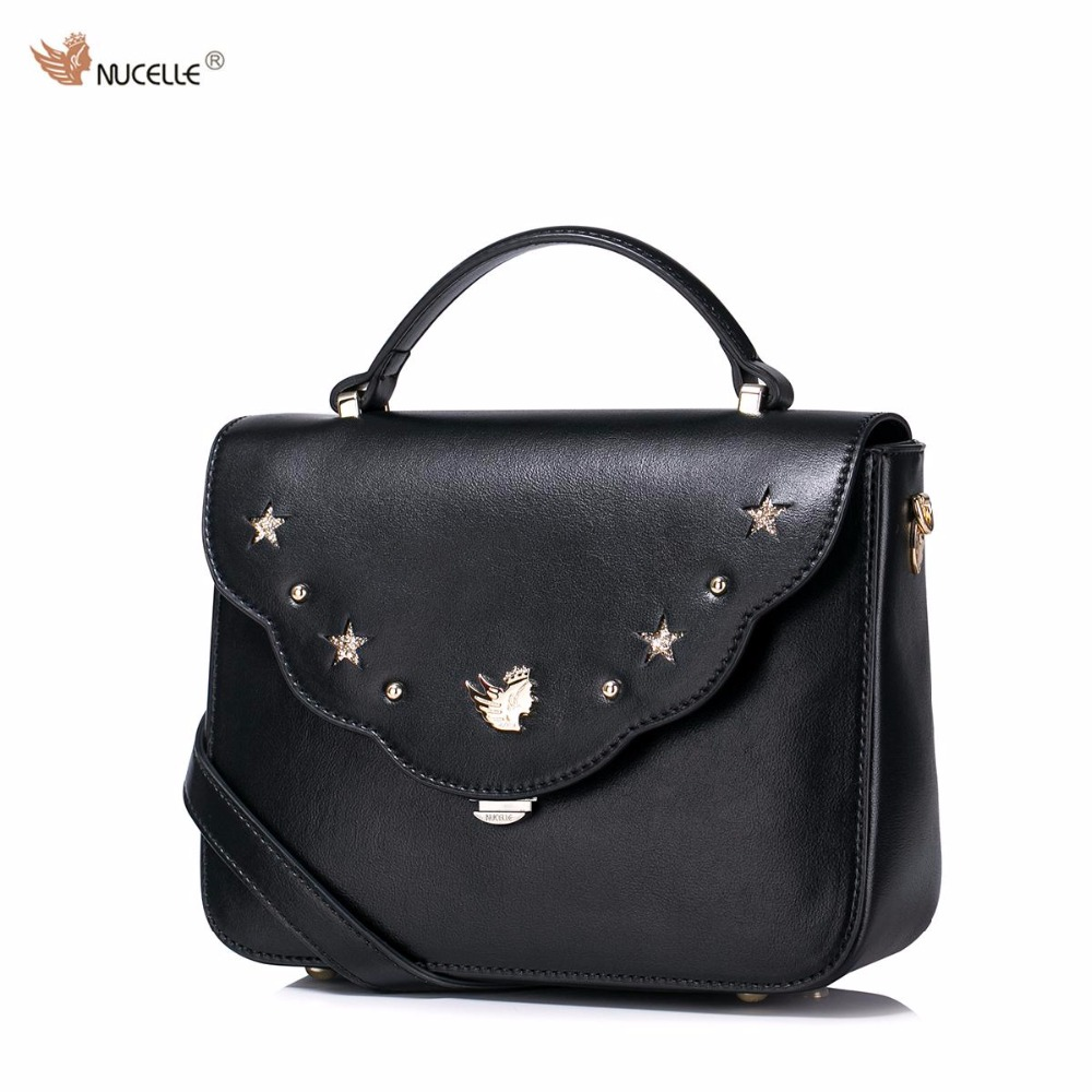ФОТО NUCELLE Brand New Design Fashion Rivets Hollow Stars Lock PU Leather Women Lady Handbag Shoulder Flap Bags