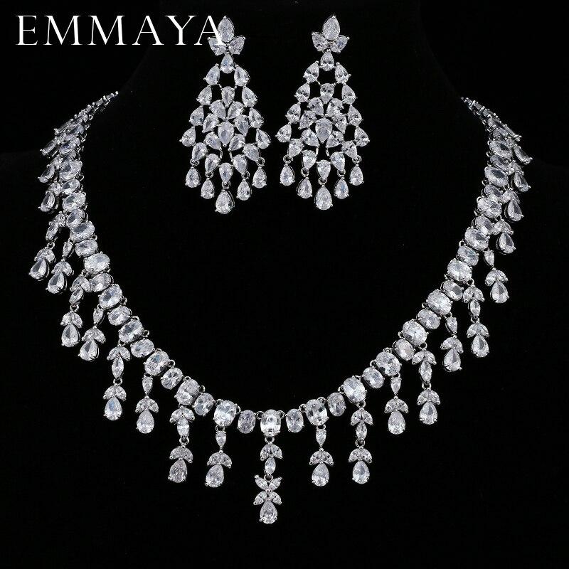 EMMAYA Femme Bijoux AAA CZ Earrings Necklace Jewelry Sets for Women Wedding Party Fashion Jewellery Accessory