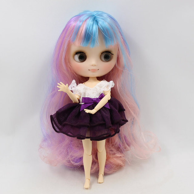 Nude Middie Blyth Doll colorful hair with bangs matte face joint body gray eye 20cm DIY gift with hand set