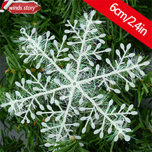 180 Pcs 6cm Snowflake Christmas Ornament White Plastic Snowflakes Xmas Tree Christmas Decorations Snowflake Floco De