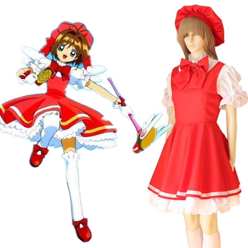 Anime CARDCAPTOR SAKURA KINOMOTO SAKURA red dress Cosplay Costumes Halloween for women suits dress + hat + bow 4pcs set