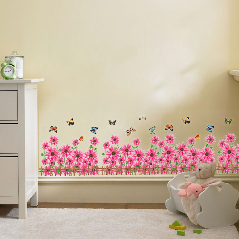 bathroom wall stickers for kids aliexpress buy floral flower skirting butterfly wall 22581