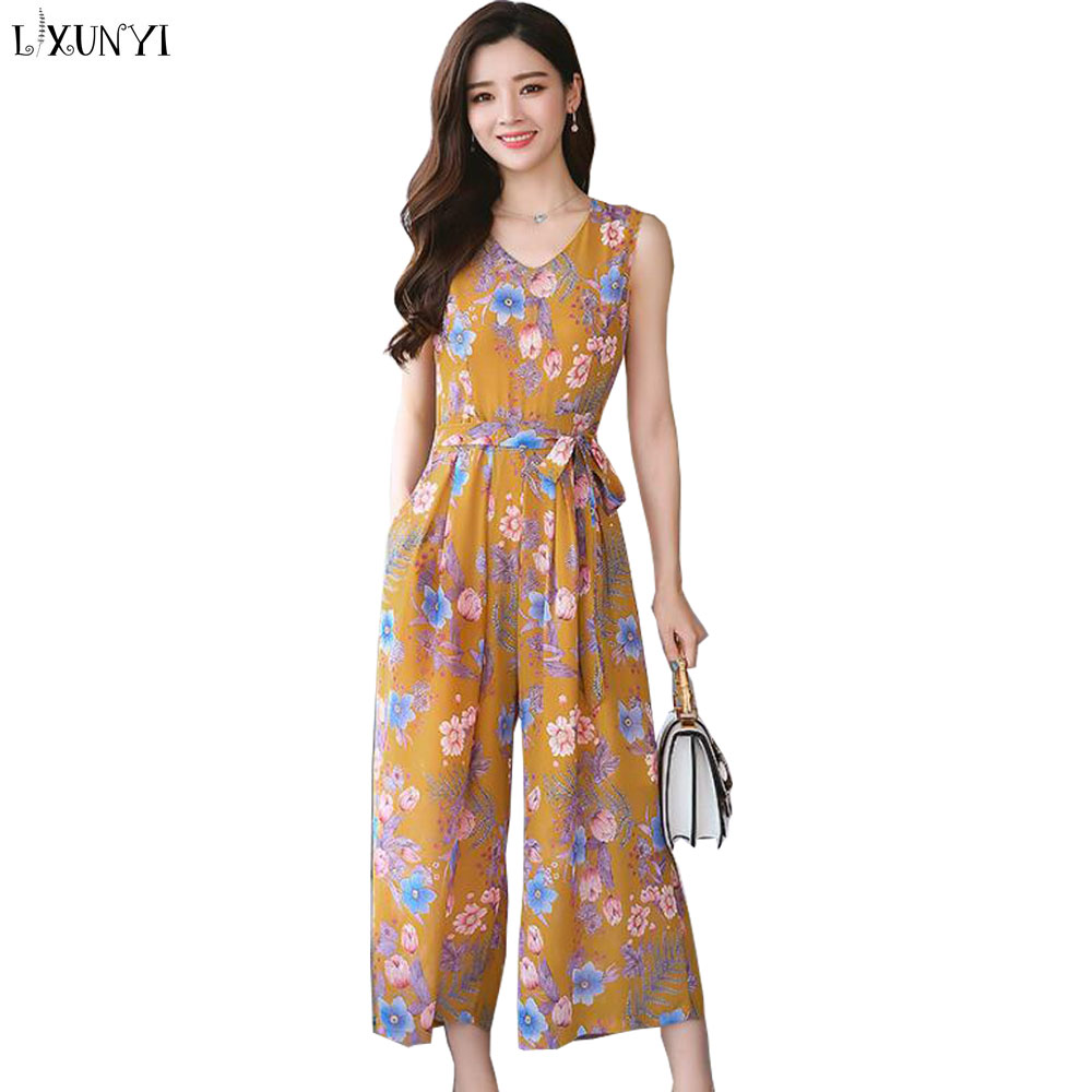LXUNYI jumpsuits For Women 2018 Summer Plus Size Sleeveless Printed Rompers Fashion Pants Elegant Wide Leg Chiffon jumpsuit Belt
