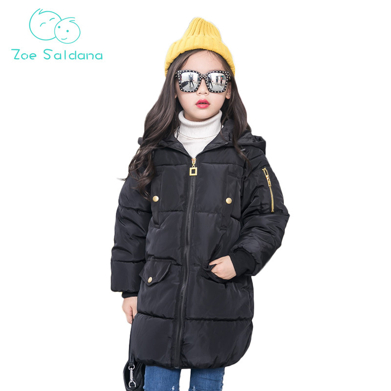 Zoe Saldana Girl's Coat 2017 New Winter Baby Girl Clothes Solid Casual Hooded Thicken Parkas Teenager Warm Down Cotton Coats zoe saldana girl s coat 2017 new fashion winter solid hooded long white duck down casual kids warm detachable fur collar coats