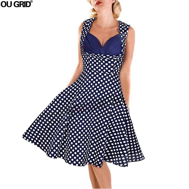 Sommer Vintage Kleid 1950 s 60 s Frauen Elegante V ausschnitt ...