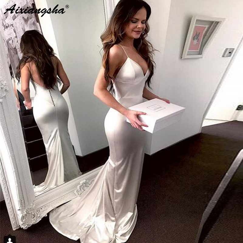 White Dresses Prom 2019 Elastic Satin Mermaid Backless Spaghetti Strap Long Wedding Party Dress Cheap Evening Gown