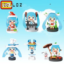 LOZ Musical Tea Art Christmas Skating Magic Miku Mini Action Figure Building Blocks Toys DIY Model Toys for Children(China)