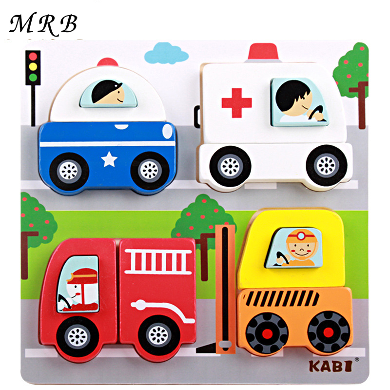 Wooden 3D Puzzles Kids Toys Cartoon Animal Traffic Education Jigsaw Puzzle Montessori Size 18 *18 * 2.5cm Toy For Children
