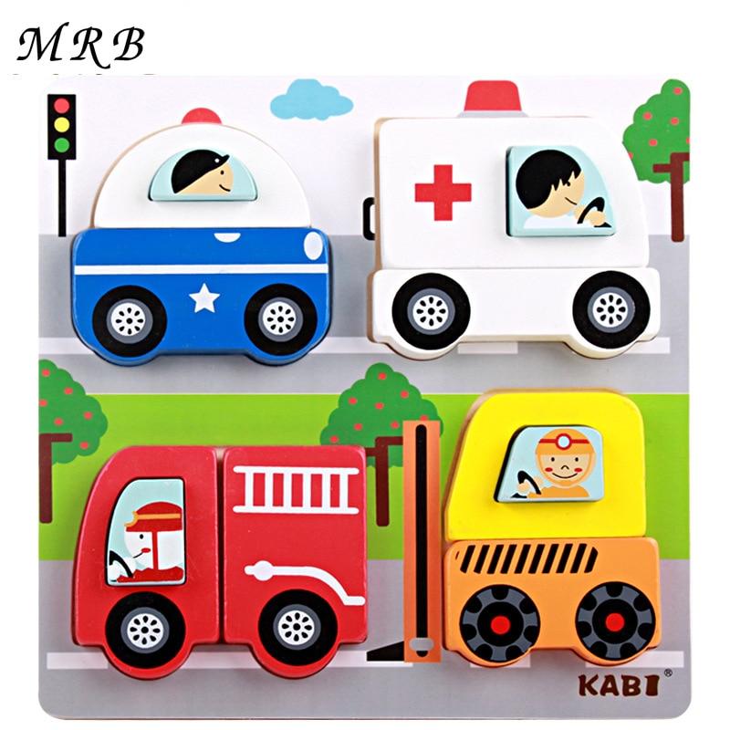 Kayu 3D teka-teki Kanak-kanak Mainan kartun pendidikan trafik haiwan teka-teki Montessori Saiz 18 * 18 * 2.5cm mainan untuk kanak-kanak