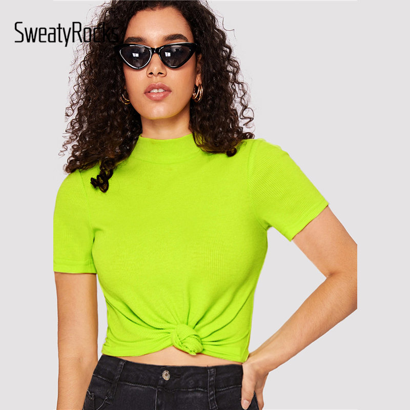 SweatyRocks Mock Neck Rib-knit Form Fitted Neon Top Sexy Stretchy Slim Basics T-shirt 2019 Summer Women Streetwear Solid Tees