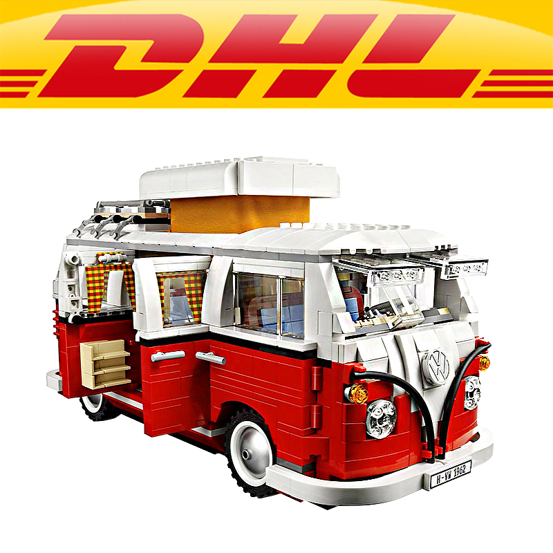 2017 LEPIN 21001 Technic Series Volkswagen T1 Camper Van Model Building Toys For Children Compatible with 10220 new lepin 21001 creator series the volkswagen t1 camper van model building blocks classic compatible l10220 technic car toys