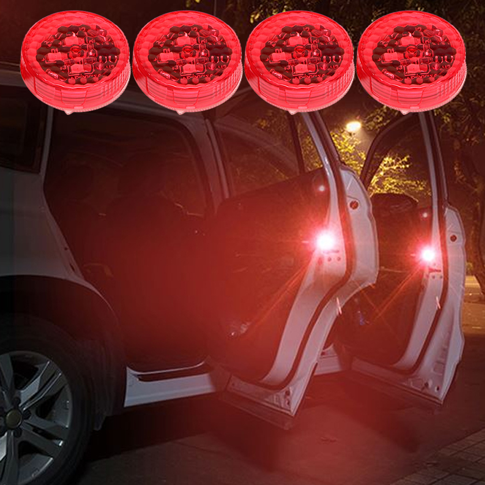 4pcs/Set Flashing LED Warning Lamp Auto Strobe Traffic Light Red Car Door Lights Anti Collision Magnetic Control Car-styling 8led bright led solar powered traffic warning light barricade lights strobe tower warning lights road cone